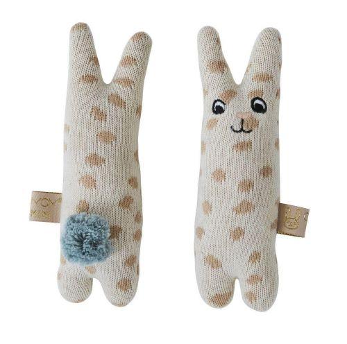 OYOY Dětské pletené chrastítko Baby Rabbit
