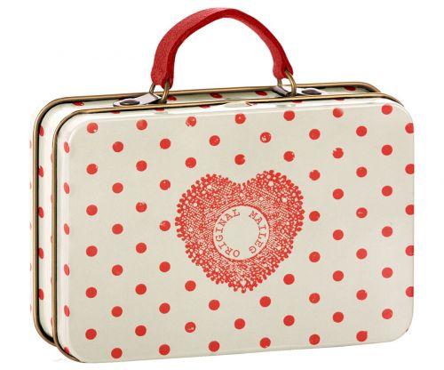 Maileg Plechový kufřík Cream Coral Dots