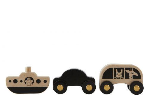 OYOY Sada dřevěných autíček a lodičky No Rush