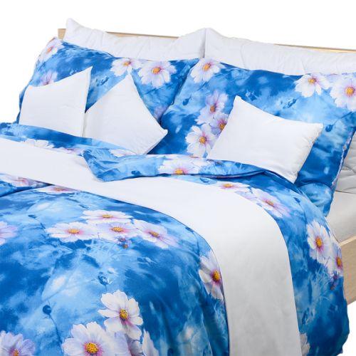 Stanex květiny modré krepové povlečení