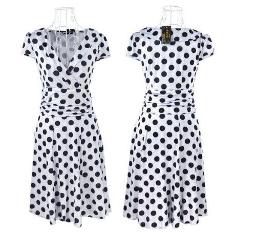LM moda A Letní šaty puntíkaté bílo černé
