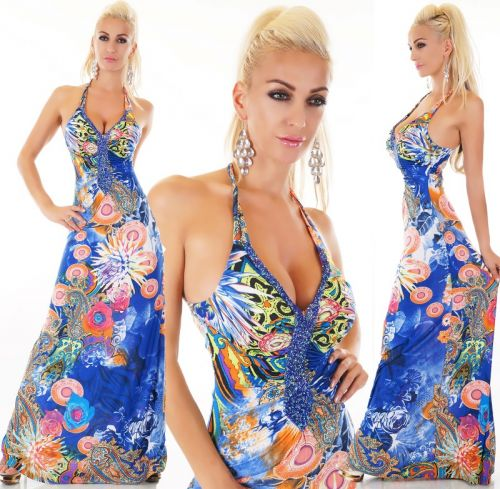 Queen O.F. dlouhé šaty modré
