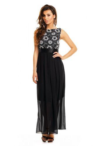 Made in Italy A Večerní šaty černé s výšivkou květy