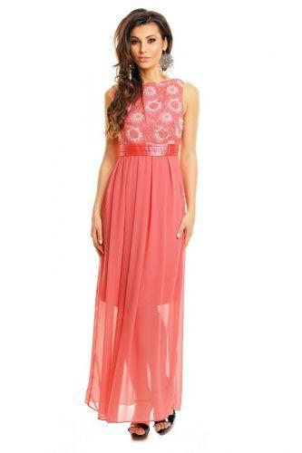 Made in Italy A Společenské šaty lososové s výšivkou květy