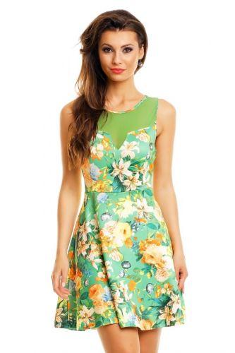 LM moda A Letní šaty zelené s květy