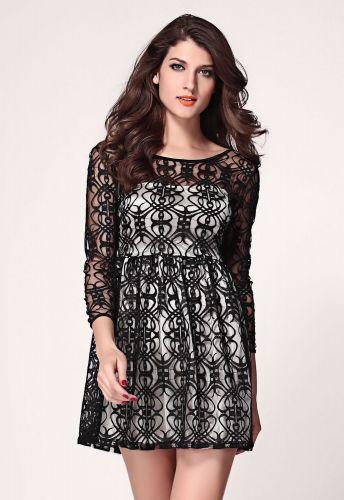 LM moda A Skater šaty krátké s krajkou černo bílé