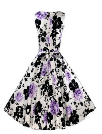 LM moda A Letní retro šaty s květy bílo černo fialové