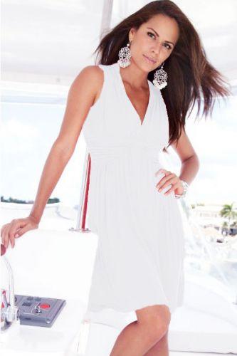 LM moda A Šaty letní plážové,elegantní, ivory jednobarevné