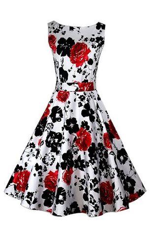 LM moda A Letní retro šaty s květy bílo černo červené