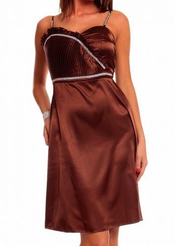 Made in Italy Plesové šaty hnědé se zdobením štrasem