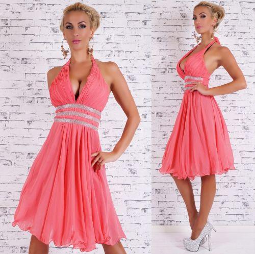 QUEEN O.F. Plesové šaty se štrasem korálové