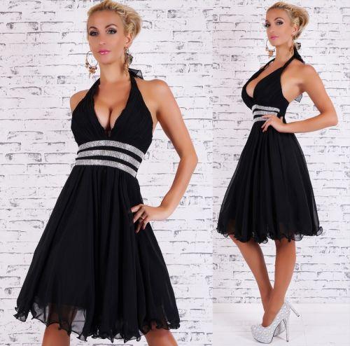 QUEEN O.F. Plesové šaty se štrasem černé