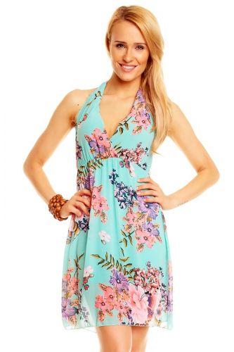Made in Italy A Letní šaty mentolové květované