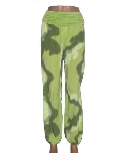 Made in Italy Letní kalhoty turecký střih batikované zelené