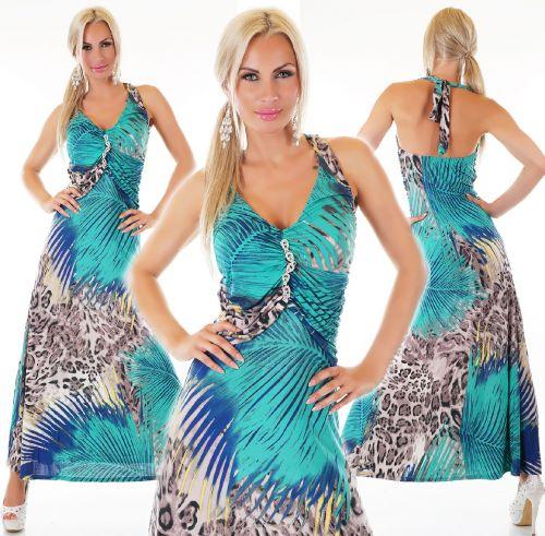 QUEEN O.F. Letní vzorované dlouhé šaty