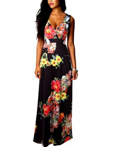LM moda A Krásné dlouhé černé šaty s květy