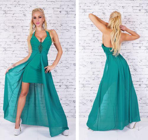QUEEN O.F. Luxusní zelené šaty se zdobením