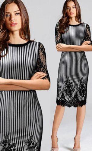 LM moda A Elegantní pouzdrové šaty černé krajkované