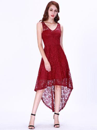 Ever Pretty Krátké bordo krajkové šaty