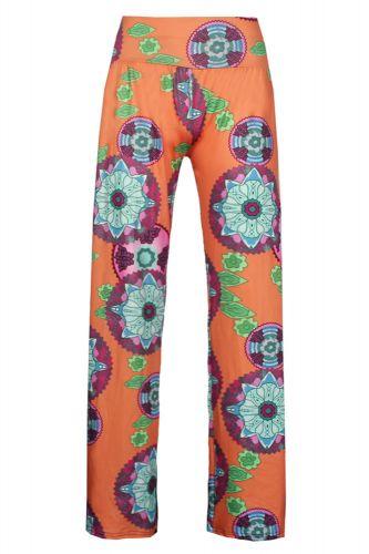 LM moda A Dámské vzorované kalhoty oranžové