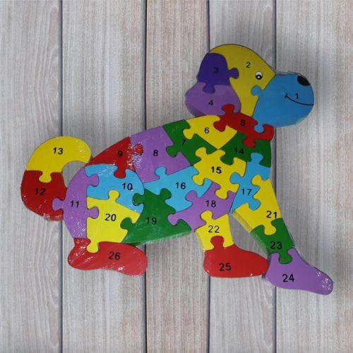 No brand Dřevěné dětské puzzle s čísly Pes