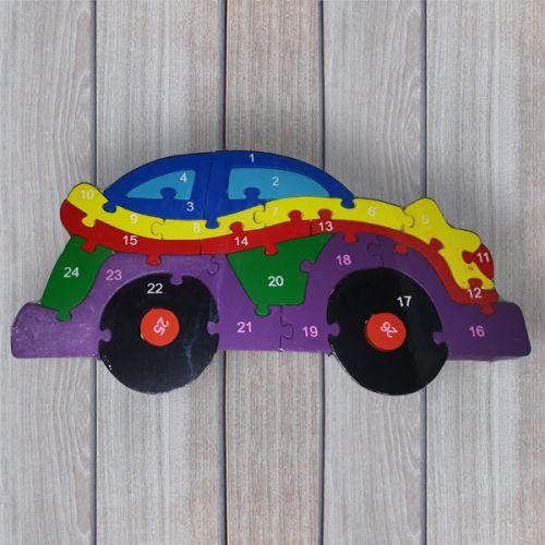 No brand Dřevěné dětské puzzle s čísly Auto