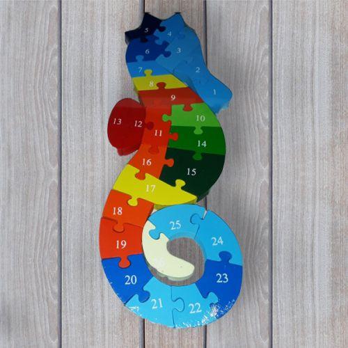 No brand Dřevěné dětské puzzle s čísly Mořský koníček