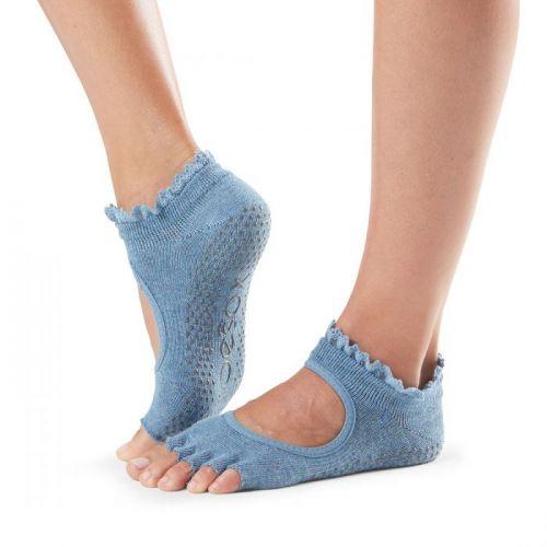 Toesox halftoe Bella Grip Denim lace ponožky