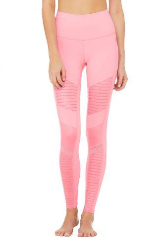 Alo Yoga Alo High-Waist Moto joga Flamingo Glossy legíny
