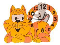 DoDo Dětské dřevěné hodiny na zeď Kočka s myškou