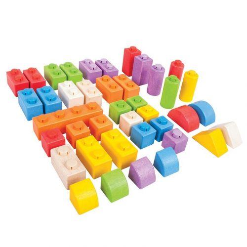 Bigjigs Toys Dřevěné kostky spojovací 40 Ks