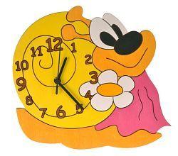 DoDo Dětské dřevěné hodiny na zeď Šnek