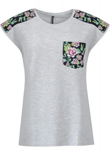 Moodo triko s aplikací květu na ramenou