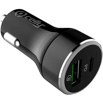 CELLY s USB-C a USB Qualcomm 3.0 portem 42W max černá