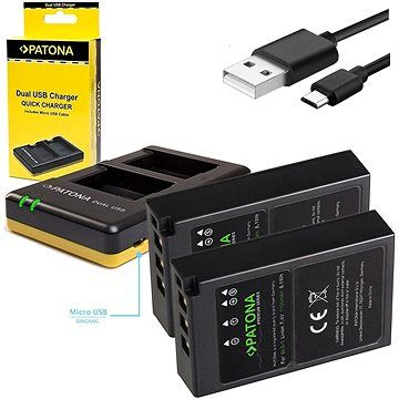 PATONA Foto Dual Quick Olympus BLS5 + 2x baterie 1100mAh