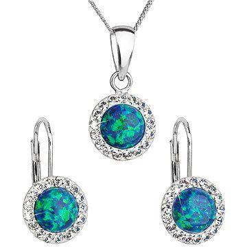 EVOLUTION GROUP 39160.1 zelený synt. opál souprava dekorovaná krystaly Swarovski® (925/1000, 2 g)