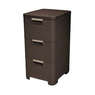 Curver Rattan Style skříňka 3x14L tmavě hnědý