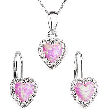EVOLUTION GROUP 39161.1 růžový synt. opál souprava dekorovaná krystaly Swarovski® (925/1000, 2 g)