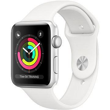 Apple Watch Series 3 42mm GPS Stříbrný hliník s bílým sportovním řemínkem