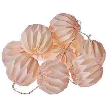 EMOS LED vánoční girlanda – 10× růžové pap. koule, 2×AA, teplá b., čas.
