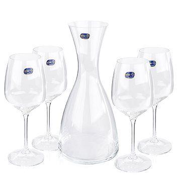 BOHEMIA CRYSTAL Crystalex Sada karafa a sklenice na víno GISELLE WINE SET 5ks