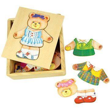 Bigjigs Dřevěné oblékací puzzle v krabičce - Paní Medvědice