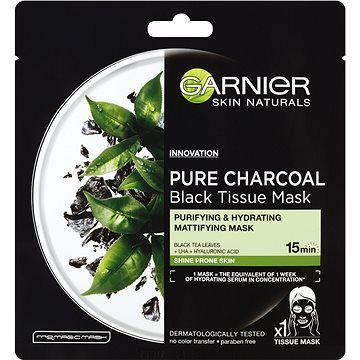 GARNIER Skin Naturals Pure Charcoal Black Tissue Mask s extraktem zčerného čaje 28 g