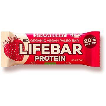 Lifefood Lifebar Protein Bio Raw jahodová – 15 ks
