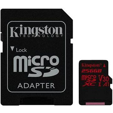 Kingston Canvas React MicroSDXC 256GB A1 UHS-I V30 U3 + SD adaptér