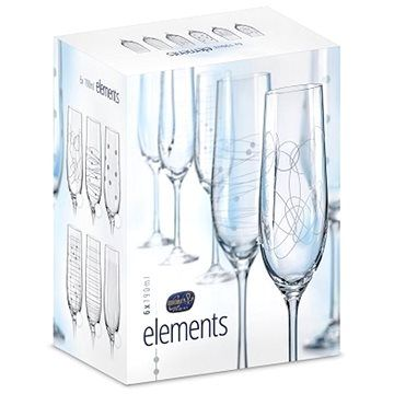 BOHEMIA CRYSTAL Crystalex Sklenice na šampaňské 190ml 6ks ELEMENTS