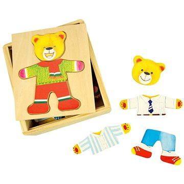 Bigjigs Dřevěné oblékací puzzle v krabičce - Pan Medvěd