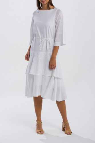 Gant Šaty Gant O2. Pp Sateen Striped Ruffle Dress 4503046-319-Gw-110-38 Bílá 38