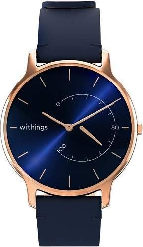 Withings Move Timeless Chic měděné s modrým koženým řemínkem