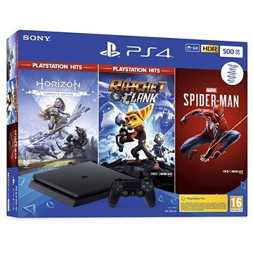 SONY PlayStation 4 Slim 500GB + 3 hry (Spiderman, Horizon Zero Dawn, Ratchet and Clank)